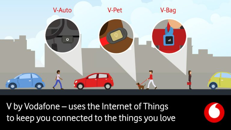 Cityscape featuring people using V by Vodafone IoT products