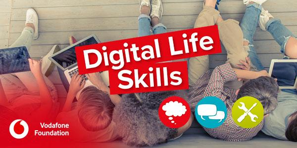 Poster for Vodafone's Digital Life Skills Workshop featuring children and young people using tablets and laptops
