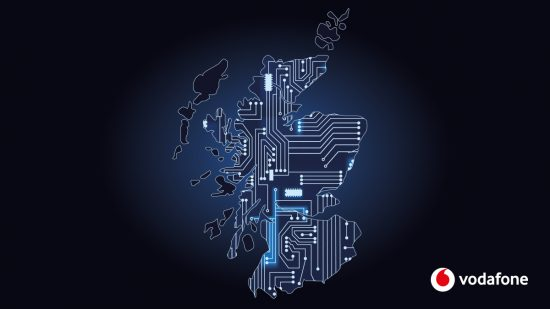 Image featuring geographic outline of Scotland overlaid with a stylised circuit board
