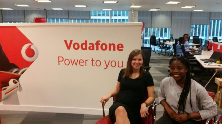 Vodafone mentee Taiwo Lawal with Inna Kosolova, Inna Kolosova, Regional IoT Expansion Manager at Vodafone