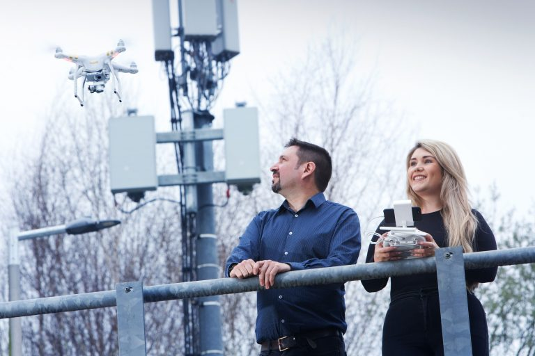 Vodafone UK's Jade Knight, Head of Network Deployment for the South, and Peter Rodriquez, Head of 5G Delivery, pictured conducting the UK's first test of new 5G spectrum