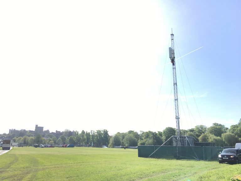 Photo showing a temporary mobile mast installed in Windsor for the Royal Wedding