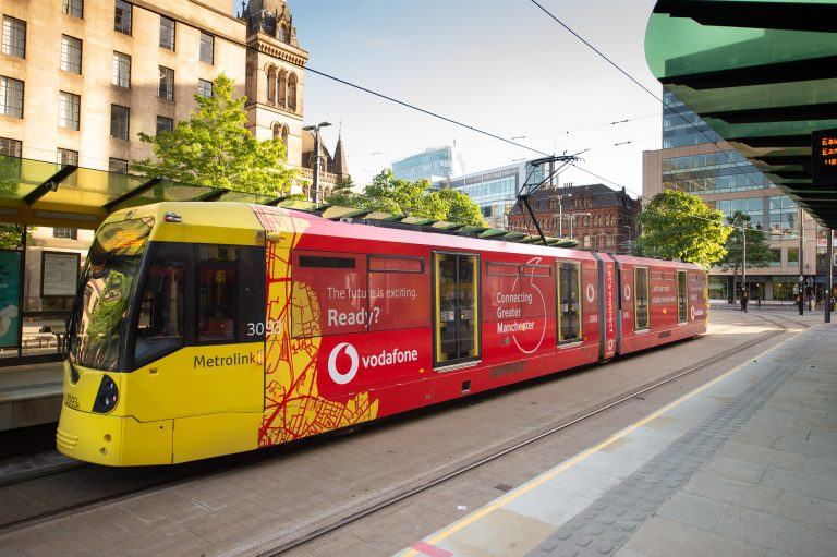 Photo of a #VodafoneTram passing through St Peter's Square, Manchester