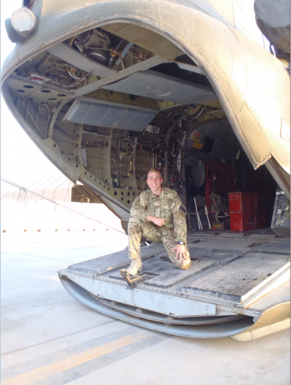 Photo of Vodafone employee and former Royal Air Force serviceman Nicholas aboard a Chinook helicopter