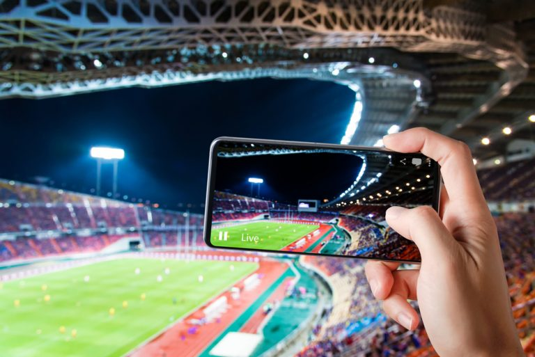 Photo of a person at a live game holding up their smartphone