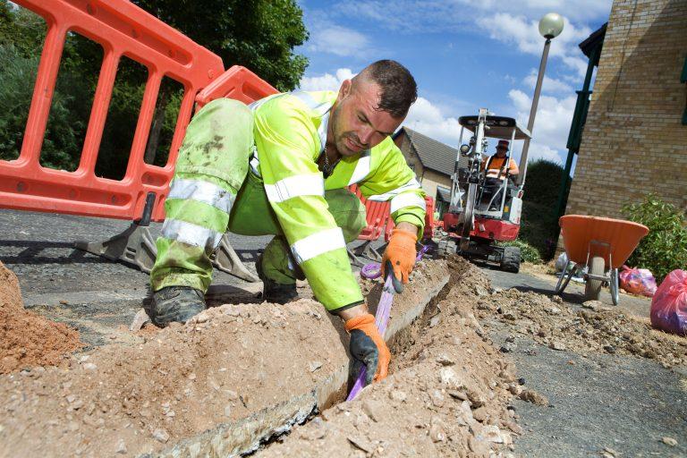 Installing full fibre for Vodafone Gigafast Broadband service in Milton Keynes
