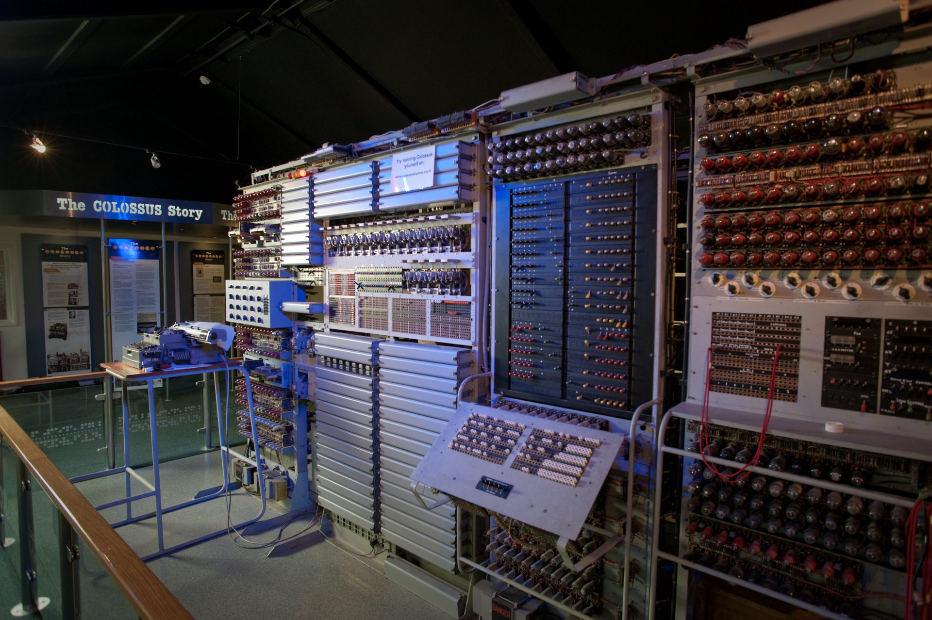 Photograph of a Colossus replica housed at the National Museum of Computing