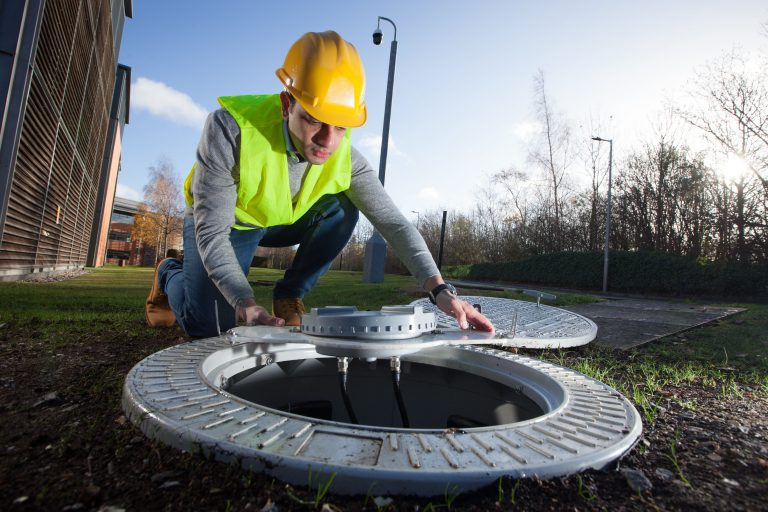 photo of a 4G-enabled manhole cover from Vodafone UK