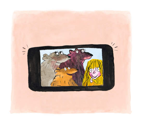 Drawing shows a selfie of #Goldilocks and the three bears, illustrated by Tony Ross.