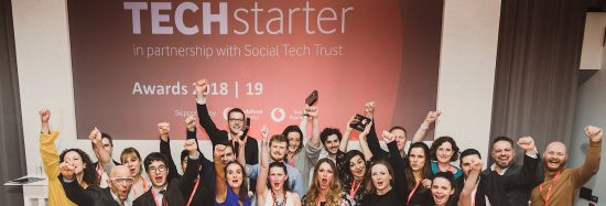 Vodafone Techstarter Awards 2019 winners with Vodafone UK's Helen Lamprell and Anne Sheehan, and the evening's host, TV presenter Jason Bradbury