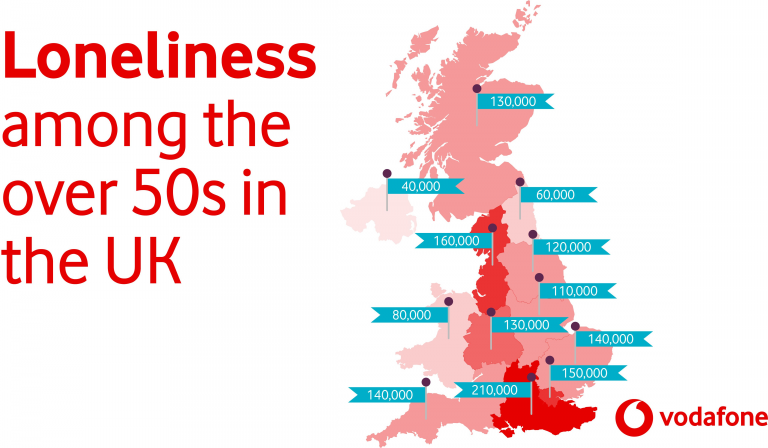 Map showing loneliness among the over 50s in the UK