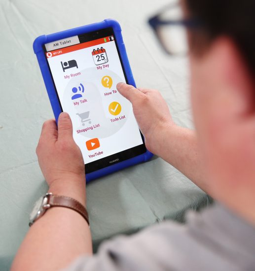 photo of a Mencap Connected Living participant using the Vodafone My Life app