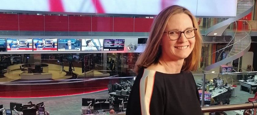 Helen Lamprell in the BBC's New Broadcasting House news room