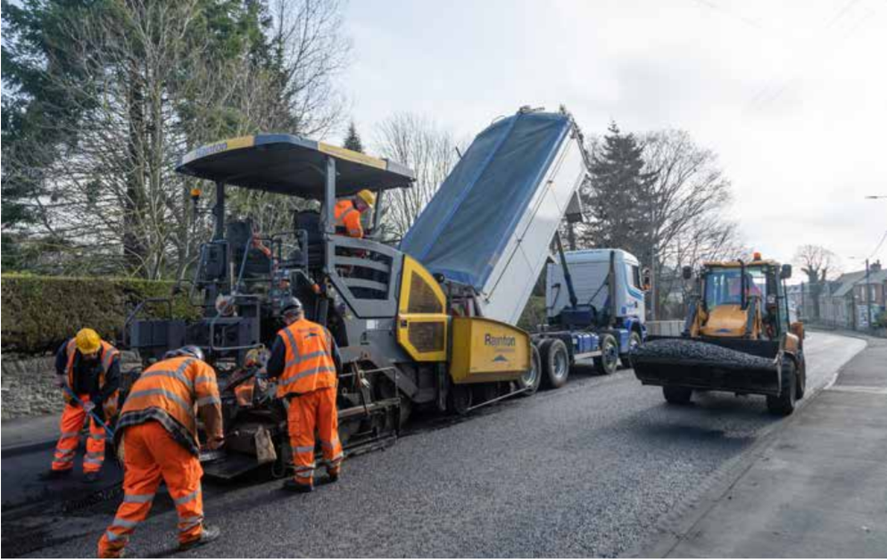 MacRebur machine laying plastic-based asphalt on road