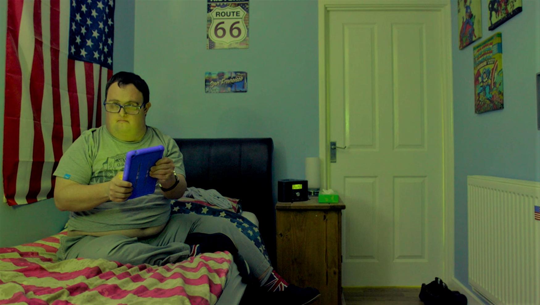 Adam Miller in his bedroom
