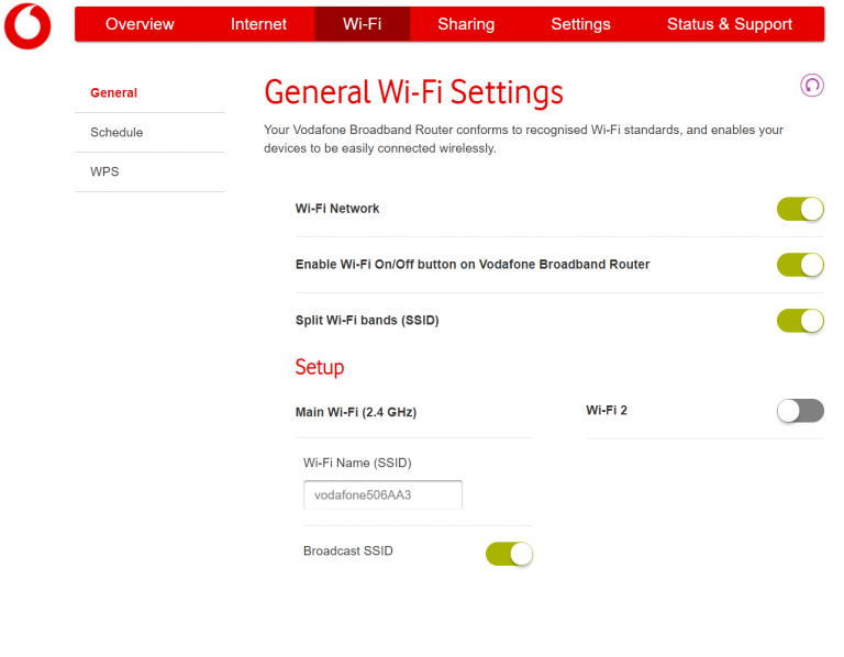 A screenshot showing how to set up separate 2.4GHz and 5GHz networks on the latest Vodafone routers.