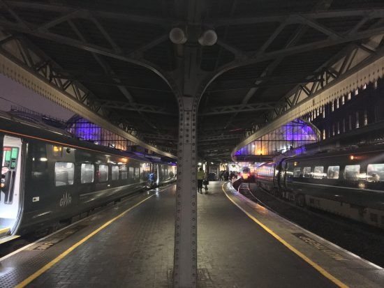 a shot of train platforms at Paddington station