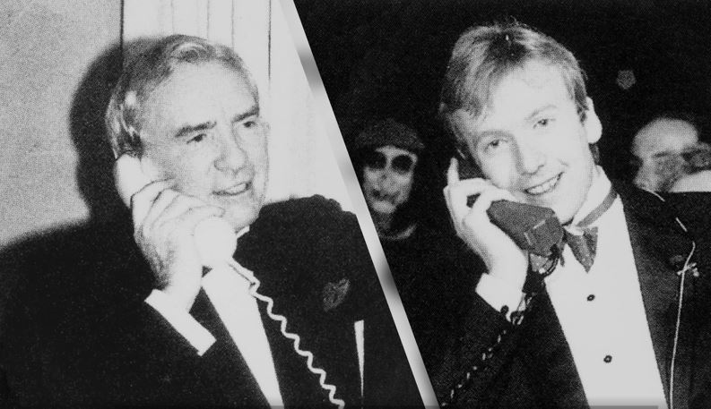 Michael and Sir Ernest Harrison Making First UK Mobile Phone Call