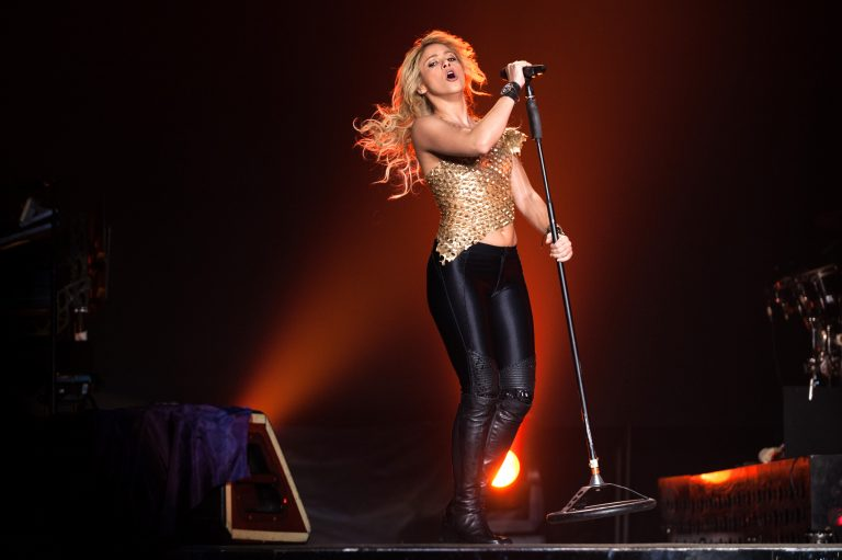 Pop singer Shakira performing on stage