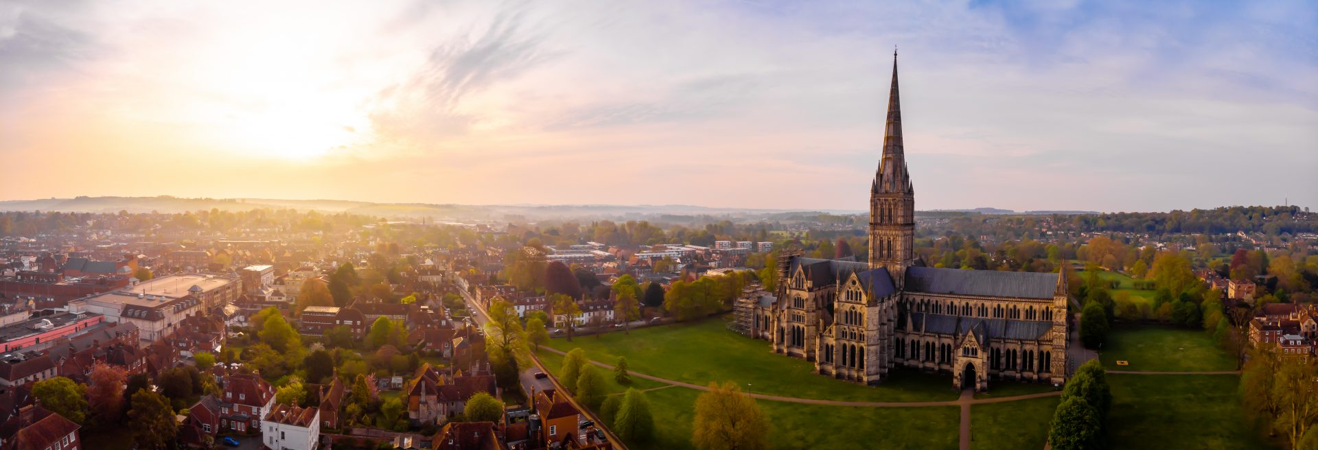 Aerial view of Salisbury and its cathedral