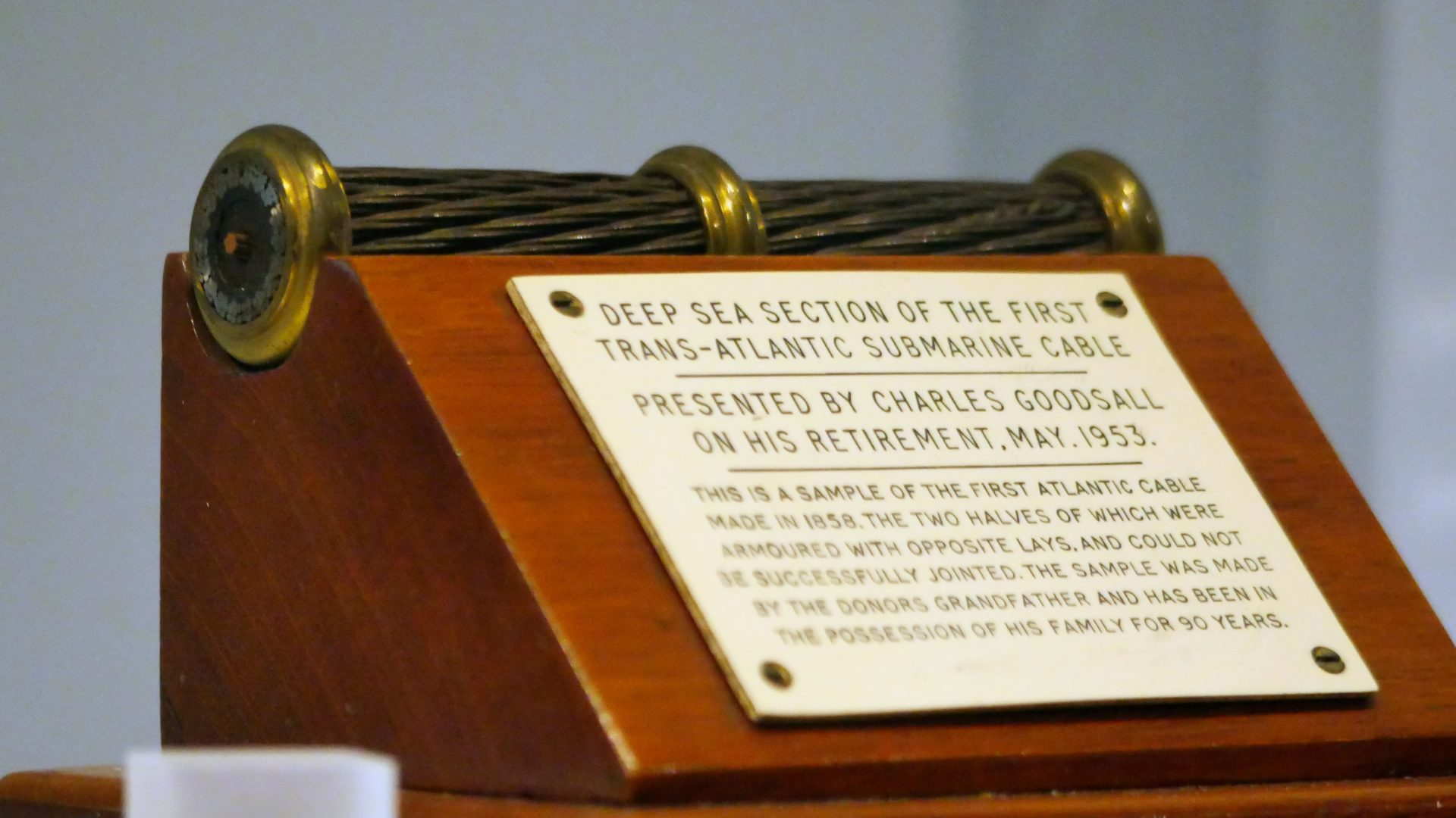 A commemorative segment of the first ever transatlantic telegraph cable, laid in 1858. On display in the Information Age gallery at the Science Museum, London.