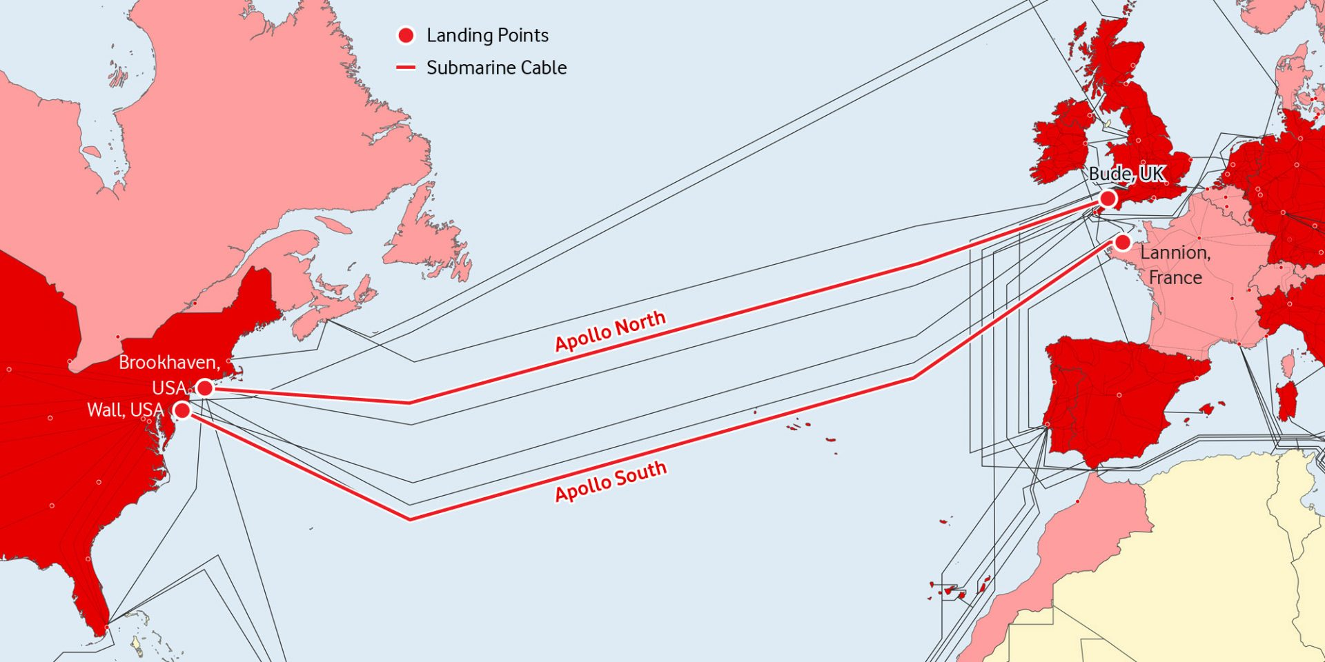 A map of Vodafone's Apollo North and South transatlantic fibre optic cables