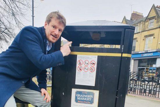 Guy Matthews, Public Sector Lead, Vodafone Business UK in front of smart bin