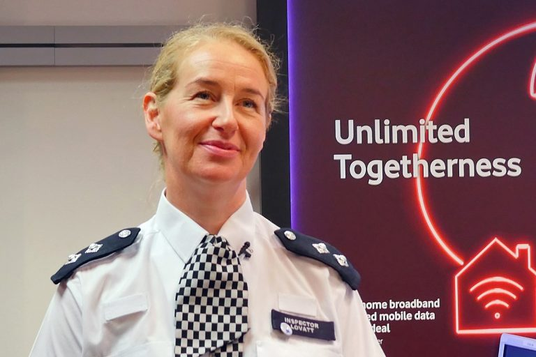 The Metropolitan Police's Inspector Ellen Lovatt launches the Look Up, Look out campaign at Vodafone UK's Oxford Street store