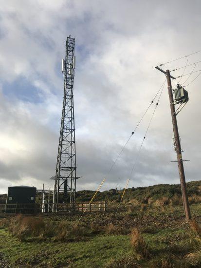 Mobile phone mast, New Luce, Wigtownshire, Scotland