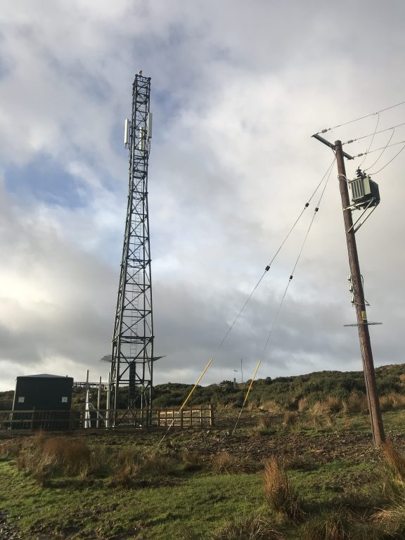 Mobile phone mast, New Luce, Wigtownshire, Scotland
