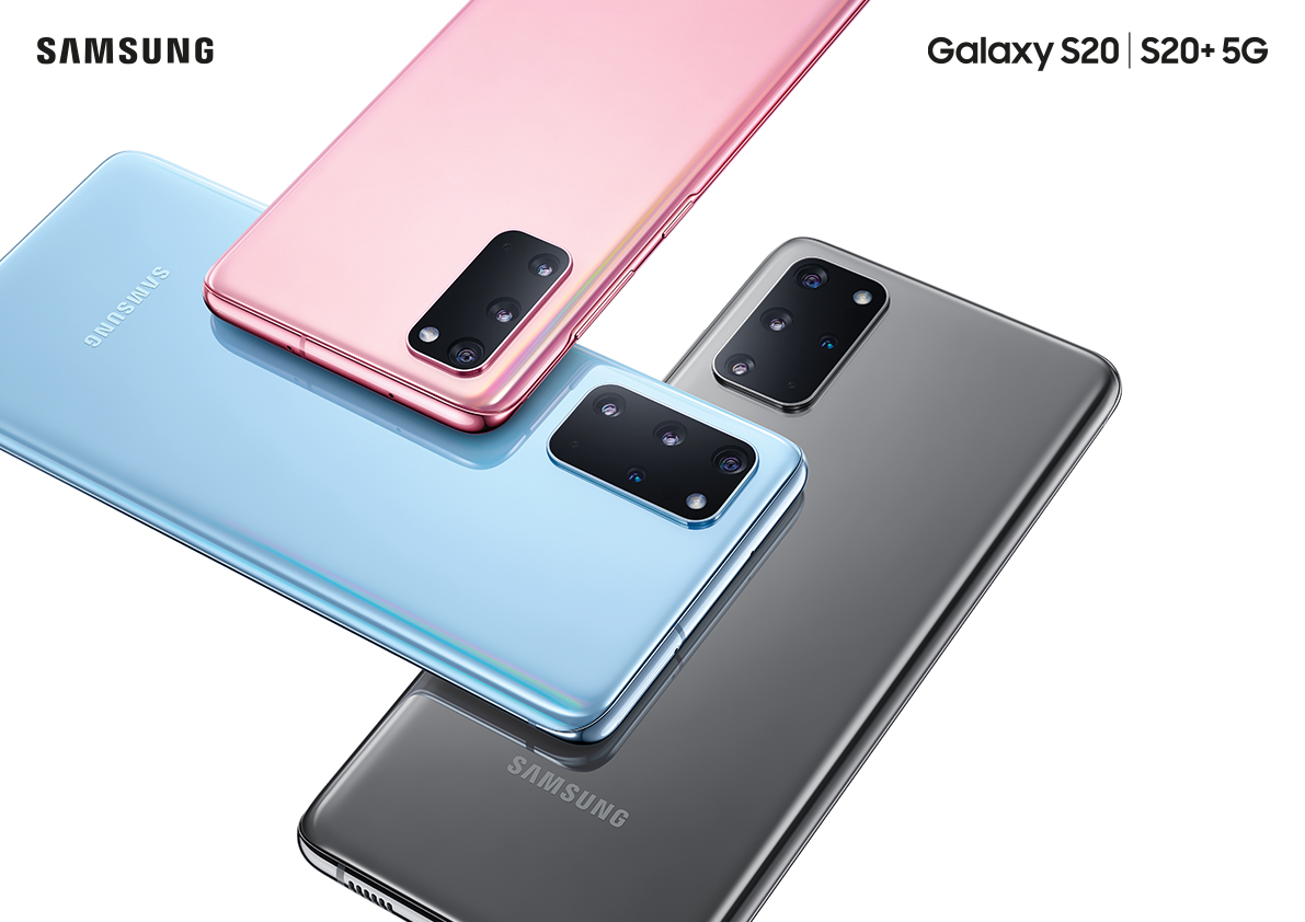The Samsung Galaxy S20 is available in pink, blue and grey.