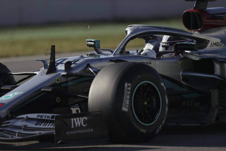 F1 champion Lewis Hamilton testing his new Mercedes AMG car in February