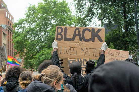 Black Lives Matter banner at protest