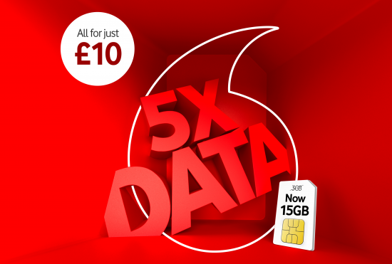 image promoting Vodafone UK's 5 times Pay As You Go mobile data offer