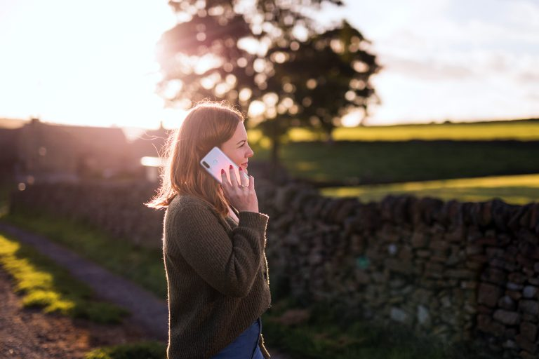 photo of woman on her mobile phone in Longnor, Staffordshire