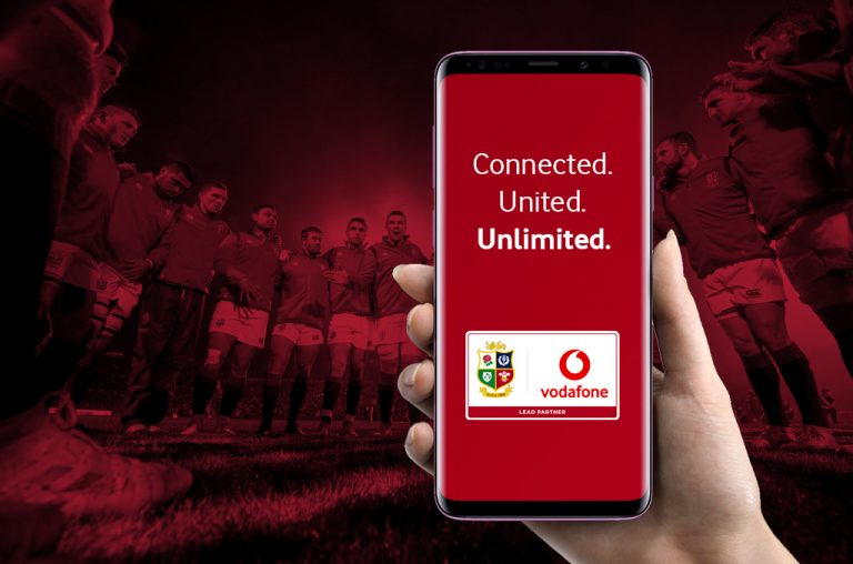 Vodafone British & Irish Lions joint logos on smartphone