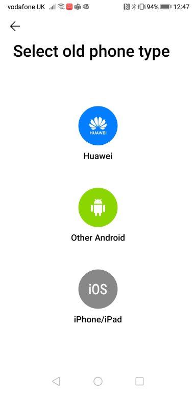 screenshot of Huawei's PhoneClone app