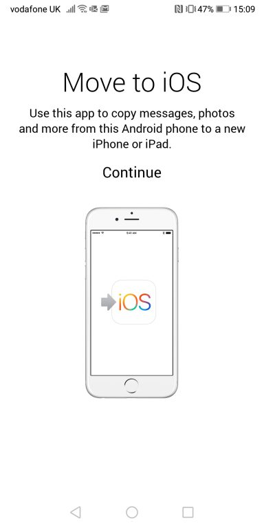 screenshot of Apple's Move to iOS app