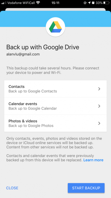 screenshot of the Google Drive options for backing up an iPhone