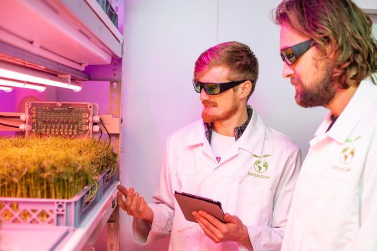Jack Farmer, LettUs Grow Co-Founder & Chief Scientific Officer (left), and Charlie Guy, Co-Founder & CEO, inspect pea shoot crops in LettUs Grow's aeroponic research centre