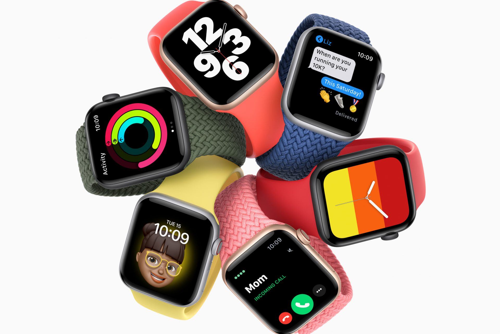 Apple Watches in a circular arrangement