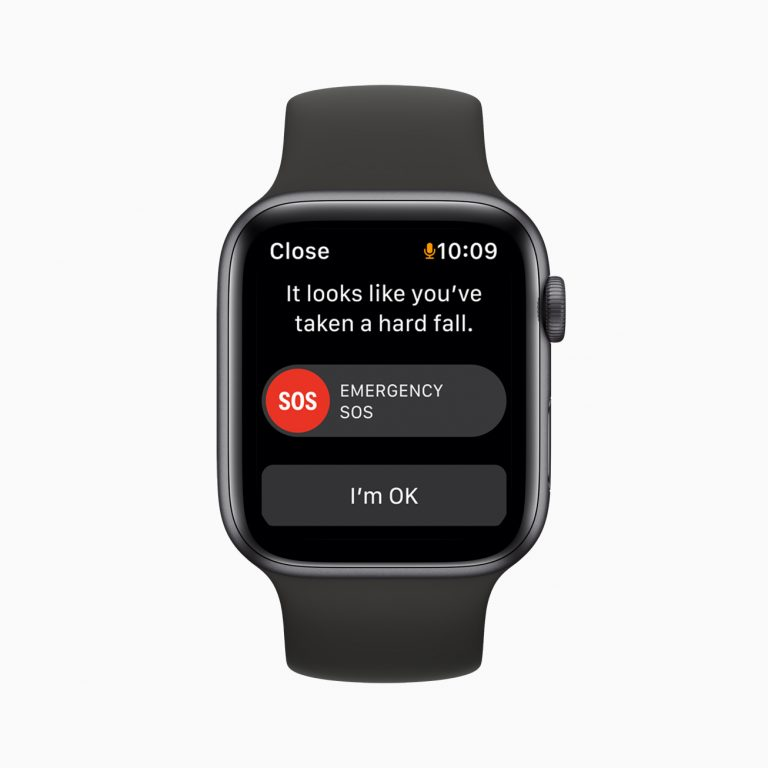 The emergency SOS feature on Apple Watch SE