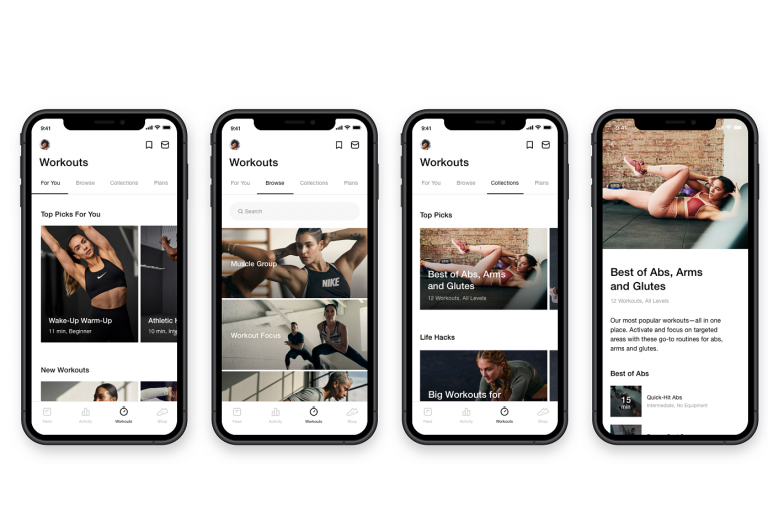 Screengrabs from Nike Training Club app