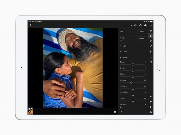 image of photo editing on an Apple iPad 8th generation