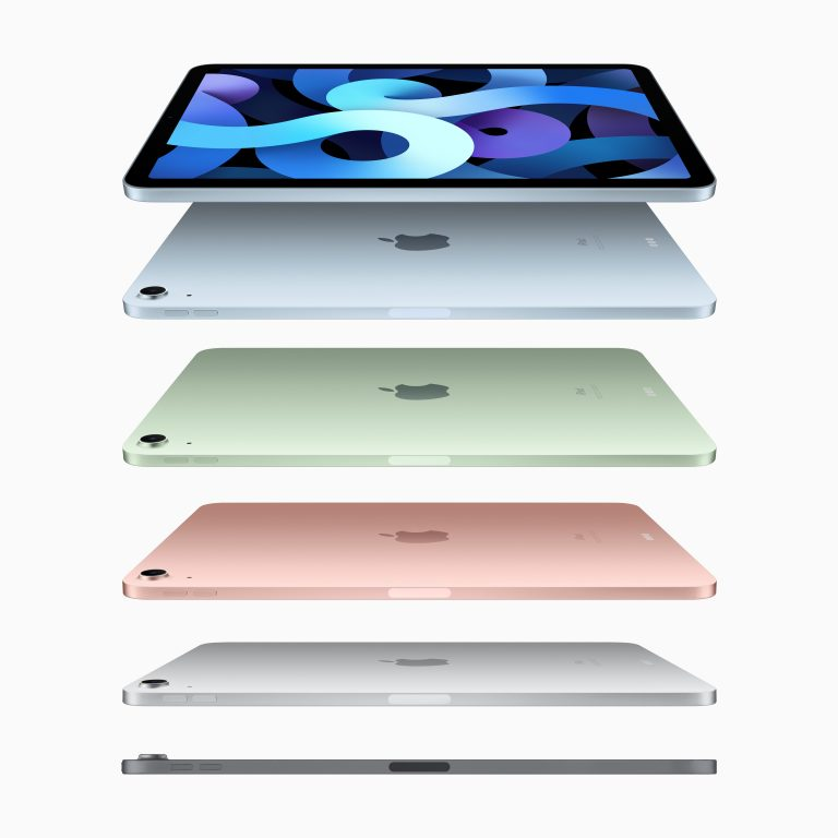 photo showing the different colours of the fourth generation Apple iPad Air