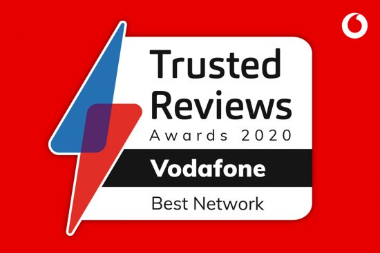 Trusted Reviews Awards 2020 Vodafone Best Network graphic