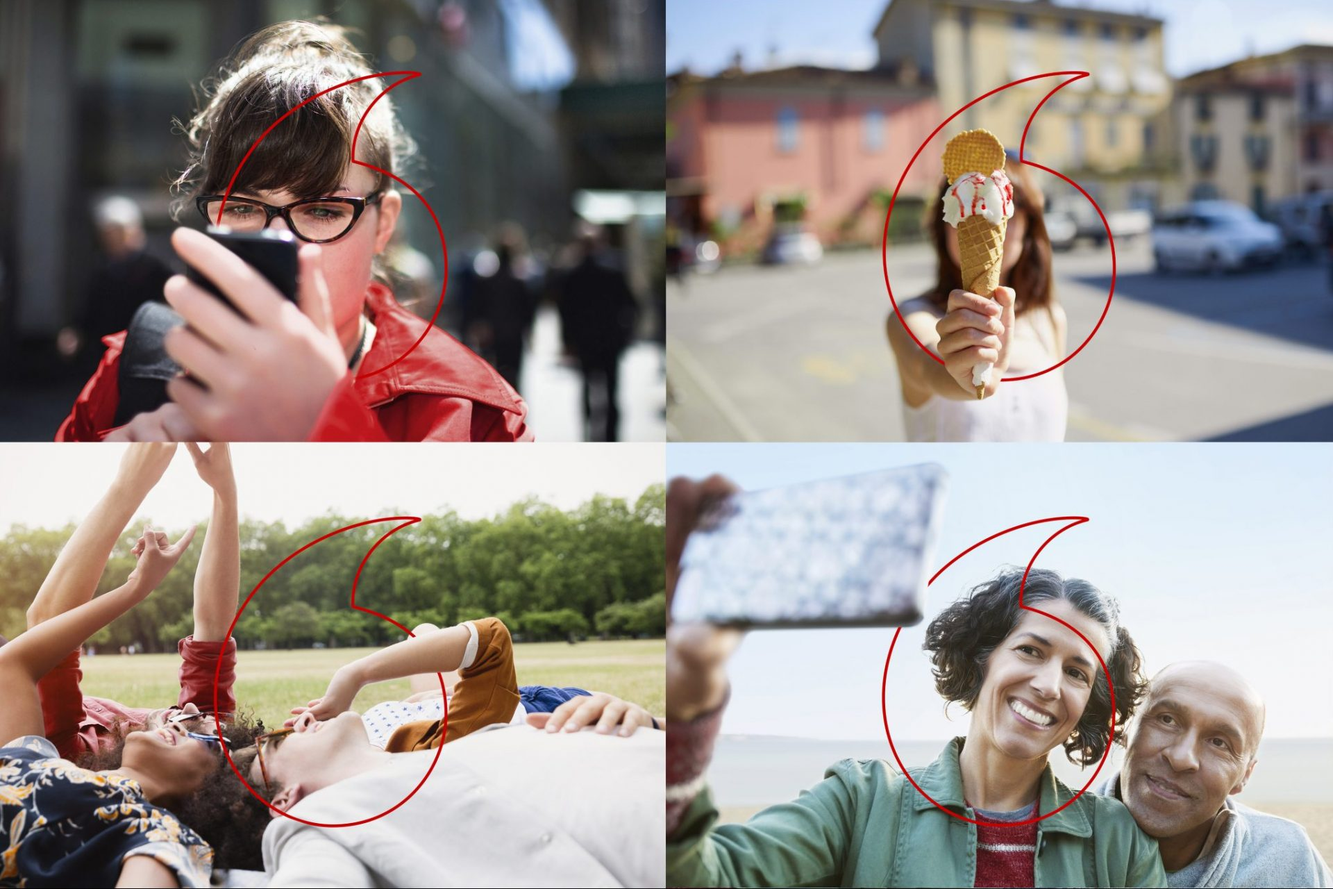 Vodafone branded image collage