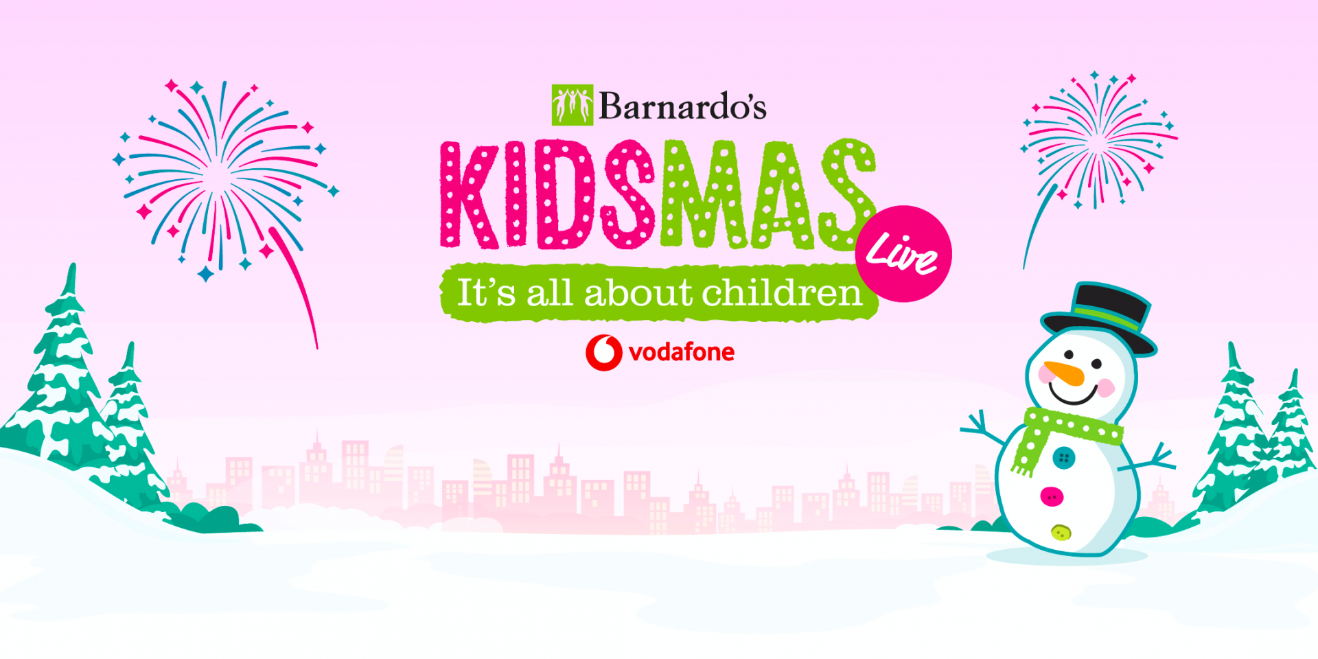 promotional image for Barnardo's Kidsmas Live sponsored by Vodafone UK