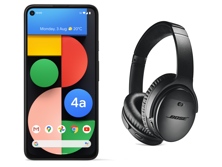 illustrative photo of the Google Pixel 4a 5G and Bose QC 35 II