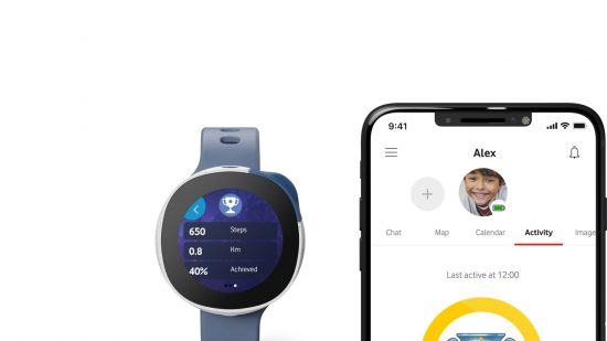 illustrative photo of the Neo smartwatch and the Vodafone Smart App